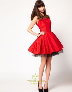 Red And Black Short Homecoming Dresses, Red Dresses For Holiday Party, Red Cocktail Dress With Bow, Scoop Neck Cocktail Dress