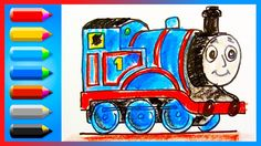 How to Draw Thomas the Tank Engine  ♦ Drawing and Colors Learning video ...