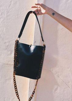Bucket Tote Bag in black by Brie Leon at Dead Pretty. Acetate tortoiseshell  chain strap 9fa16f390678b