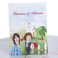 Le Plus Beaux Faire-Parts De Mariage Champetre Dessin Humoristique Amoureux JM203  #weddinginvitations #weddingcards #joyeuxmariage