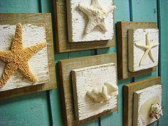 Starfish Driftwood Sign Set Seashells Coral Wall Art Beach House Decor - Set of 5 on Etsy, $125.00