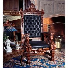 The Fitzjames Hand-Carved Solid Mahogany Throne Chair Was: $3,299.00           Now: $2,399.00