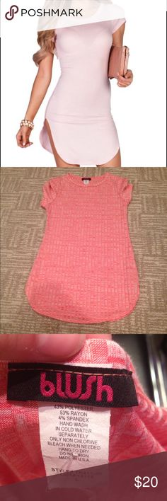 Coral NWT T SHIRT DRESS (not modeled) NWT tee shirt dress with rounded bottoms great a line fit size junior large  best fits a MEDIUM the color in the bottom photos shows it best as the color the model is wearing is a few shades lighter smoke free home fast shipping Blush Dresses