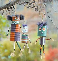 Here is a great quirky use for those old tin cans - create this wonderful creatures - they double up nicely as a spooky (but cute?) decor at Halloween, or make a set of scare crows or robots tin can…