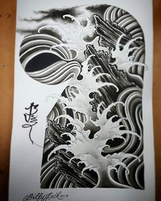 Japanese Mask Tattoo, Japanese Wave Tattoos, Japanese Waves, Japanese Art, Irezumi, Jack Tattoo, Portland Tattoo, Wave Tattoo Design, Tattoo Background
