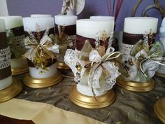 Made these centerpieces for my niece's First Communion
