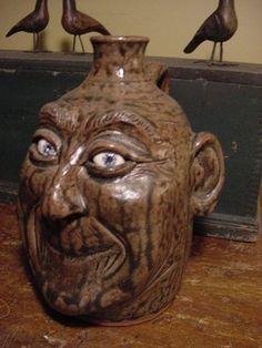 Southern Glazed Stoneware Pottery Crock Face Jug Signed Head Jug Folk Art