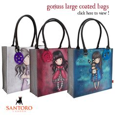<p>Carry stacks of shopping in Santoro's large coated bags. With plenty of space and stunning designs featuring Hush Little Bunny, The Ladybird and All These Words, this is an essential piece of arm candy that will be sure to get you noticed. Please click here to take a closer look, and have a happy Friday!</p>