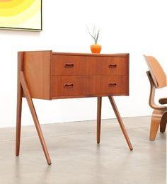 1960s Danish Modern TEAK Entry Chest Table Mid Century Eames Era