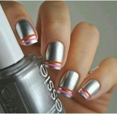 Silver nails with pink and orange lines