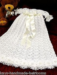 Handmade Heirloom Crochet Baby Girl Full Length Christening Baptism Gown Dress