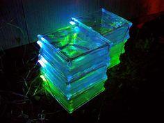 "Solar LED glass block stepping ""stones"" DIY"