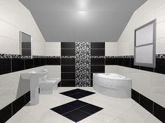 Black& White! Model de design pentru baie cu gresie, faianta si decoruri din colectia Floris. Aceasta este expusa in  Showroom-ul de gresie si faianta Castilio din Bulevardul Mihai Eminescu, nr.170, Botosani