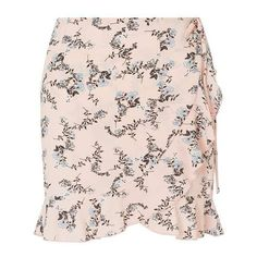 PETITE Floral Print Ruffle Wrap Skirt (35.990 CLP) ❤ liked on Polyvore featuring skirts, frilly skirt, flower print skirt, miss selfridge, pink wrap skirt and flounce skirt
