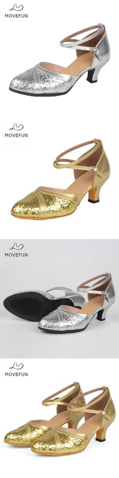 MoveFun Gold Silver PU Latin Dance Shoes Women Girl's Salsa Ballroom Shoes Heels High 5cm Ladies Zapatos Baile Mujer Latino-55