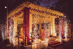 We are completely in awe of this stunning mandap! More on this beautiful wedding of Krutika & Akshay's up on our website. Marriage Decoration, Wedding Stage Decorations, Banquet Decorations, Floral Decorations, Wedding Mandap, Outdoor Wedding Venues, Wedding Walkway, Wedding Ceremony, Wedding Entrance