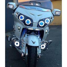 Honda Goldwing GL1800 Projector headlight with blue demon eyes!!
