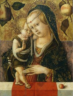 Madonna and Child: 1490 by Carlo Crivelli (National Gallery of Art - Washington DC) - Early Renaissance Die Renaissance, Italian Renaissance Art, Renaissance Kunst, Renaissance Paintings, Medieval Art, Madonna Und Kind, Madonna And Child, Religious Icons, Religious Art