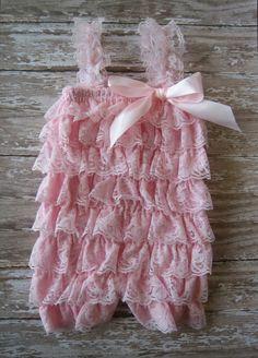 Lace petti romper / pink petti romper / pink romper / baby romper / baby petti romper /newborn photo prop/ first birthday/smash cake