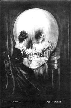 """All is Vanity"" by C. Allan Gilbert. Life, death, and meaning of existence are intertwined. (Woman gazing into boudoir mirror forms shape of skull.) 1892."