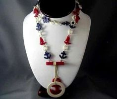 Early Bakelite Celluloid Red White Blue Anchors Life Ring Links Necklace