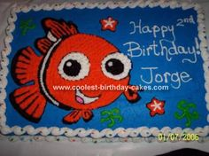 Finding Nemo Cake: My son was so into Nemo that I made him a huge theme Nemo Party. I made the Finding Nemo cake for him and he was so excited. He didn't want us to cut