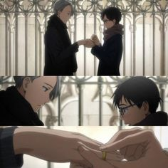 "Yuri!!! on Ice. Exchanging rings for ""good luck."""