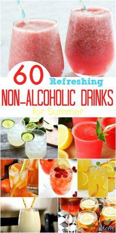 60 Refreshing Drinks for Summer recipes drinks beverages refreshingdrinks Summer cooldown 51861833195773604 Refreshing Summer Drinks, Summertime Drinks, Fun Drinks, Yummy Drinks, Healthy Drinks, Summer Beverages, Blended Alcoholic Drinks, Non Alcoholic Drinks Lemonade, Non Alcoholic Drinks Halloween
