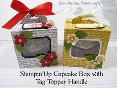 Stampin'Up Cupcake Box with Tag Topper Handle
