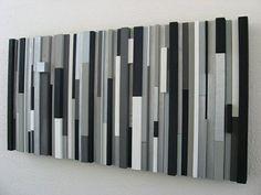 Modern Wood Wall Art Sculpture Black White Greys Silver
