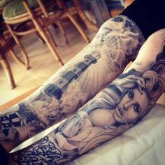 Tattoo Bein Leuchtturm und Porträt | Tattoovorlage