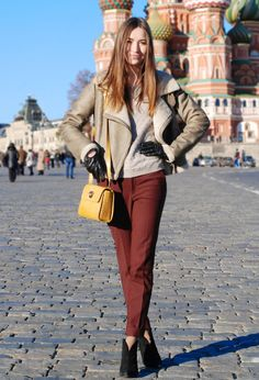 moscow  #fashion #outfit #style #look, Zara in Jackets, Zara in Pants, Uterqüe in Bags, Zara in Ankle Boots / Booties, Topshop in Sweaters