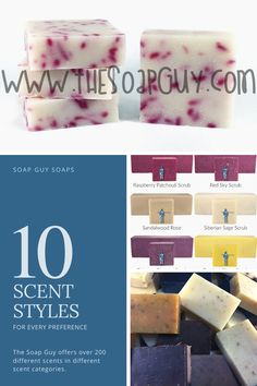 The Soap Guy offers over 200 different scents in different scent categories!