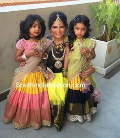 ariana and viviana in half sarees - Telugu wedding