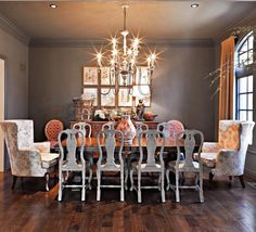 Dining room from Nell Hills- love the mix of formal and 'antiqued' furniture and lighting. Love the painted ceiling.