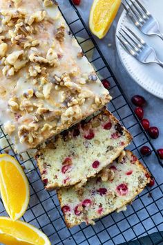 This Cranberry Orange Walnut Bread is bursting with fresh cranberries, orange juice and zest, and roasted walnuts. Topped with a bright and citrusy orange and walnut glaze, it's the perfect treat for the holiday season! Cranberry Bread, Cranberry Recipes, Holiday Recipes, Fun Desserts, Dessert Recipes, Delicious Desserts, Roasted Walnuts, Fresh Cranberries, Food Processor Recipes