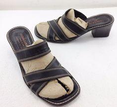 """Donald J Pliner Black Leather Slides Mules 2"""" Heels Sandals Womens 8 M Italy #DonaldJPliner #Slides #Versatile"""