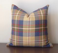 Slate Blue Tartan Decorative Pillow,Plaid/Check Cotton Throw Pillow, Woven Plaid Pillow Cover-Blue,Red, Taupe, Beige