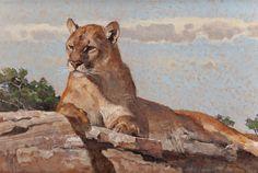 "BOB KUHN (American, 1920-2007)A Cat for All Seasons, acrylic on masonite, 113/4x18"""