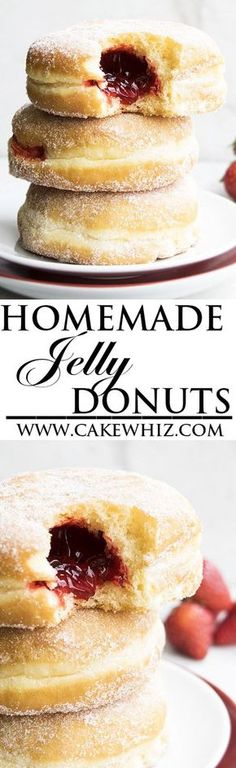 Learn how to make perfect HOMEMADE JELLY DOUGHNUTS (or donuts) with detailed instructions. Make them even more delicious by topping them with chocolate fudge frosting and strawberries. Great Summer de (How To Make Cake Donuts) Just Desserts, Delicious Desserts, Dessert Recipes, Yummy Food, French Desserts, Homemade Jelly, Homemade Donuts, Homemade Desserts, Homemade Chocolate
