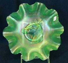 Pony 10 ruffled bowl - ice green for auction. Fenton Glassware, My Glass, Carnival Glass, Stoneware, Pony, Auction, Ice, Green, Pony Horse