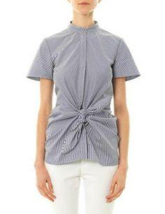 VANESSA BRUNO Striped Tie Front Cotton Poplin Top