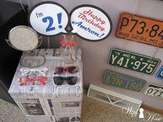 Vintage 50's car garage boy birthday party. 50's photo props
