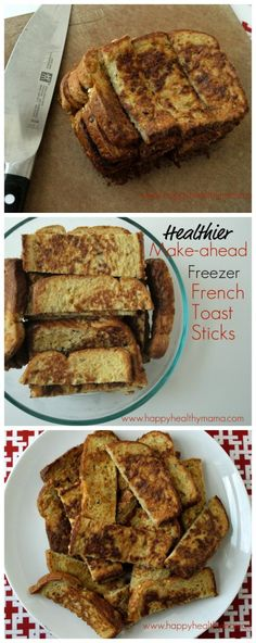 Skip the freezer section at the grocery store and make your own healthier French Toast Sticks . Your mornings will be quick and easy and your kids will LOVE breakfast! easy breakfast ideas for kids Make Ahead Breakfast, Breakfast Recipes, Breakfast Toast, Breakfast Healthy, Frozen Breakfast, School Breakfast, Healthy Brunch, Happy Healthy, Breakfast At Work Ideas