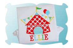 This darling Circus Tent applique features party balloons and a banner! Font shown is Do-Si-Do Embroidery Font and is available as a separate purchase.