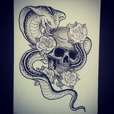 King Cobra skull with roses tattoo sketch draw