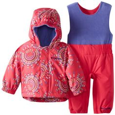 Columbia Unisex-Baby Newborn Fresh Pow Set, Bright Rose, 6/12 Months