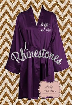 363a4007b7 Fast Free Shipping Rhinestone Personalized Purple Plum SATIN Robes  Bridesmaids Robes Gift Maid of Honor Gift