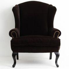 French Black Velvet Wingback Armchair