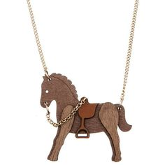 Tatty Devine Walnut Wooden Horse Necklace (434.235 IDR) ❤ liked on Polyvore featuring jewelry, necklaces, wooden necklaces, chains jewelry, mini necklace, polish jewelry and wood jewelry